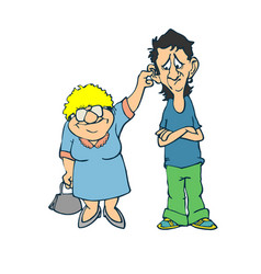 bad boy and grandmother a flat vector image
