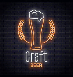 beer glass with wheat neon logo craft brewery vector image