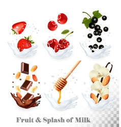 Big collection of icons of fruit and berries in a vector