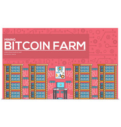 bitcoin farm thin line concept vector image