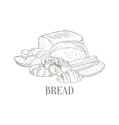 Bread And Pastry Still Life Hand Drawn Realistic vector