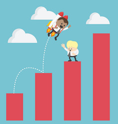 businessman on rocket soaring from graph of vector image