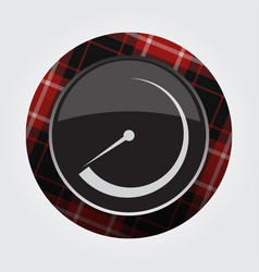 Button with red black tartan - gauge dial symbol vector