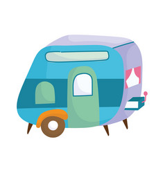 camping trailer vehicle cartoon isolated icon vector image