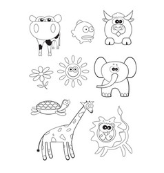 Cartoon animals coloring book vector