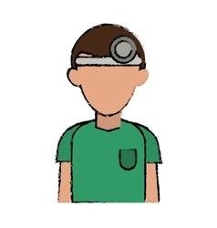 Cartoon doctor with head mirror and green uniform vector