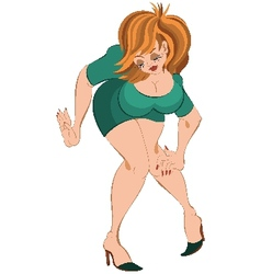 Cartoon girl in short dress and red hair touching vector image