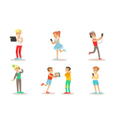 children with gadgets set boys and girls using vector image