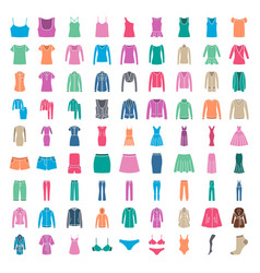 clothes icons icons women fashion vector image