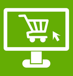 computer monitor with shopping cart icon green vector image