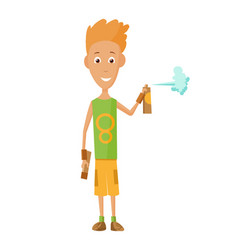 cool guy showing bottle spray vector image