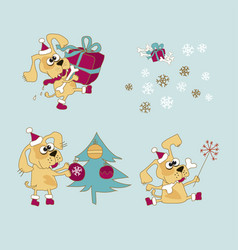 Cool yellow dog mascot cartoon set vector