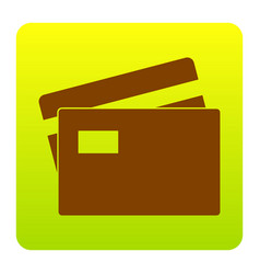 credit card sign brown icon at green vector image