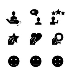 customer satisfaction black icons on white vector image