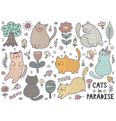 cute cats collection with mouses birds trees vector image