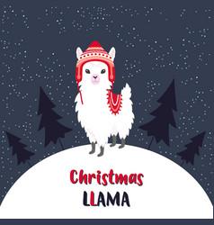 Cute christmas llama vector
