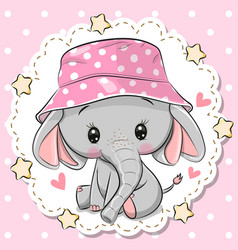 cute elephant in panama hat on a pink background vector image