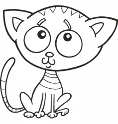 cute kitten for coloring book vector image