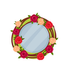 cute photo frame with flowers album template for vector image