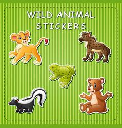 cute wild animals cartoon on sticker vector image