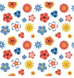 Digital blue red flowers set vector