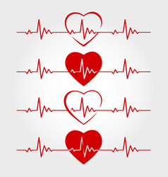 Ecg lines with hearts vector