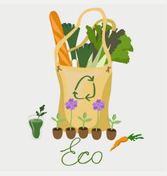 Eco-friendly bag with organic food image vector