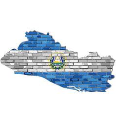 El salvador map on a brick wall vector