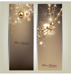 Elegant christmas banners with golden baubles and vector