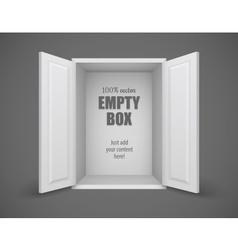 Empty box with open doors vector