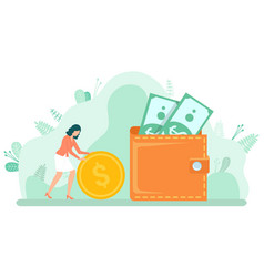 Female with coin and dollar money in cash vector