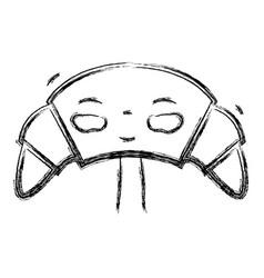 Figure kawaii cute happy croissant food vector