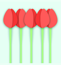 five paper cut tulip flowers vector image