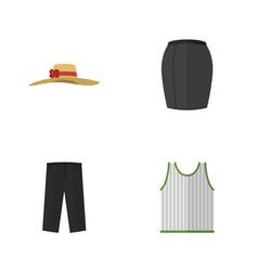 Flat icon dress set of stylish apparel pants vector