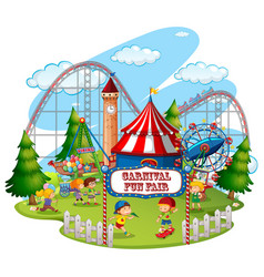 fun fair theme park on isolated background vector image
