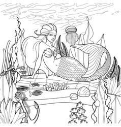 Graphic mermaid on the ocean sandy bottom vector