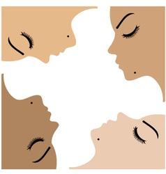 Graphic showing unity amongst beautiful women vector