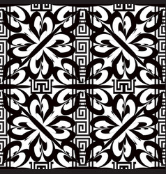 Greek floral striped black and white seamless vector