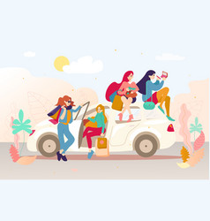 group of girls with bags after shopping in a car vector image