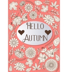 Hello autumn background orange vector