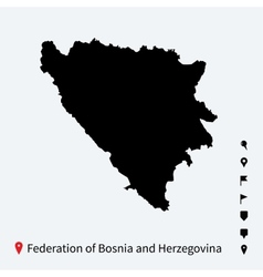 High detailed map of federation of bosnia vector