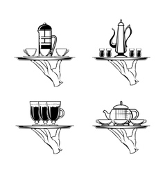 Holding Tray with Coffee or Tea and Cups vector image