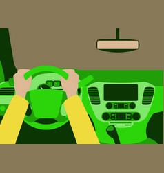 human hands driving a car vector image