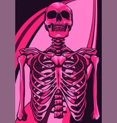 Human skeleton posing isolated over white vector