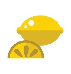 Juicy lemon fruit with slice cartoon flat vector
