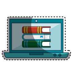laptop computer with ebook isolated icon vector image
