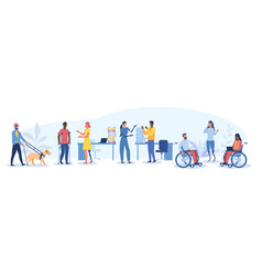 Large set disabled people in workplace vector