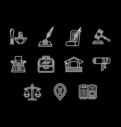 legal regulations white line icons set vector image