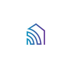 Linear logotype icon smart home wi-fi vector