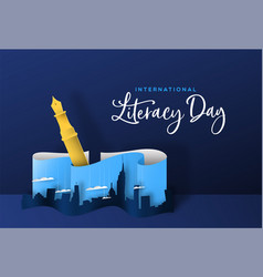 Literacy day papercut concept pen and city vector